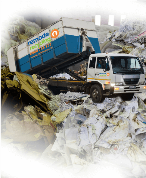 Dump site with truck in the background