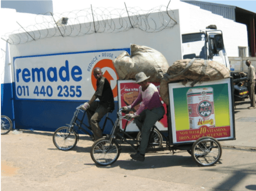 People on recycling bicycles